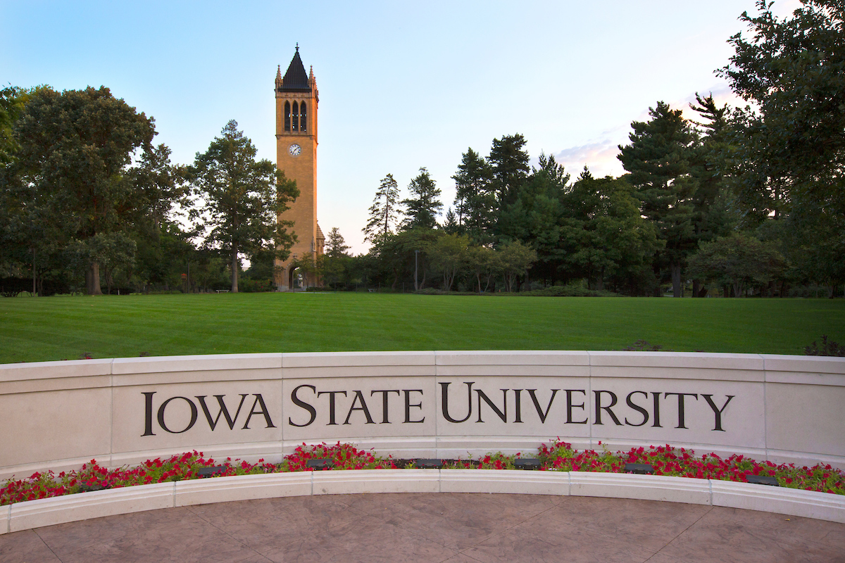 "Campanile and ""Iowa State University"" wall"